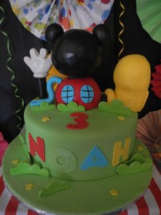 What a fun cake at a Mickey Mouse Clubhouse Birthday Party!  See more party ideas at CatchMyParty.com!  #partyideas #mickey