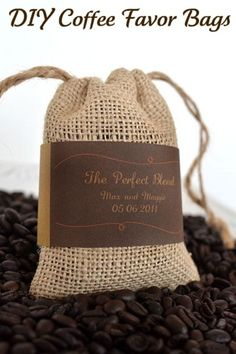 I want a  coffee bean bar at my wedding and these burlap bags are perfect <3
