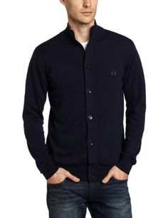 Fred Perry Men's Funnel Neck Cardigan Sweater, Graphite Marl/Navy/Port, X-Small Fred Perry Polo Shirts, Skinhead, Funnel Neck, Sweater Cardigan, Menswear, Hipster, Mens Fashion, Button, Sweaters