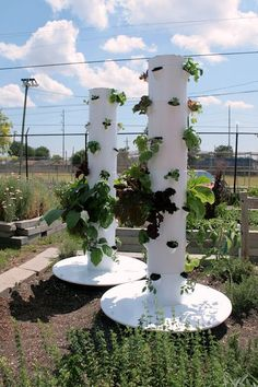Aeroponics Kit. the fertilised water wets the roots inside this tower by spraying a fine mist on the roots. this is all automated and produces food much faster, bigger and tastier than other hydroponic systems. with LED lights, they can grow inside year round. NASA is designing this for space travel.