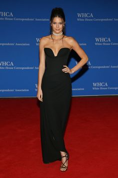 Kendall Jenner in a black gown and diamond choker. See all the best dressed celebrities from the 2016 White House Correspondents Dinner here: