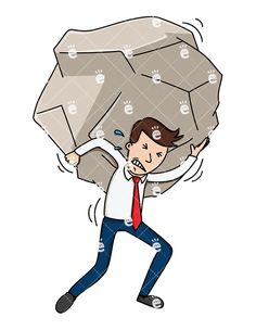 A Struggling Businessman Carrying A Giant Stone On His Back: Royalty-free vector illustration of a struggling businessman carrying a a heavy weight on his back. The giant stone is too big for him to carry and he's wincing and sweating it, but not giving up! #businessman #friendlystock #graphic #vector #art #illustration #animation #whiteboard
