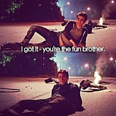 The Vampire Diaries . Stefan and Damon Salvatore . I got it - you're the fun brother. Serie The Vampire Diaries, Vampire Diaries Damon, Vampire Diaries Quotes, Vampire Diaries The Originals, Caroline Forbes, Damon Salvatore, The Salvatore Brothers, Damon And Stefan, Vampire Daries