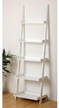 Bookcase: White Bookcase With Ladder. White Ladder Bookcase With Drawers. White Library Bookcase With Ladder. White Bookcase With Ladder. White Ladder Bookshelf, White Bookshelves, Bookcase Shelves, Wall Shelves, Glass Shelves, Bookcases, Ladder Shelf Diy, Small Bookshelf, Storage Shelving