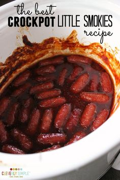 This is the best crockpot little smokies recipe using grape jelly and chili sauce! It's an easy appetizer for feed a crowd!
