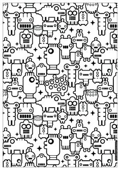 adult zen anti stress to print little robots coloring pages printable and coloring book to print for free. Find more coloring pages online for kids and adults of adult zen anti stress to print little robots coloring pages to print. Coloring Pages For Grown Ups, Adult Coloring Book Pages, Cute Coloring Pages, Doodle Coloring, Printable Coloring Pages, Coloring Pages For Kids, Coloring Books, Free Coloring, Doodles