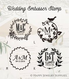 Custom Wedding Emboss Stamp Personalized Monogram