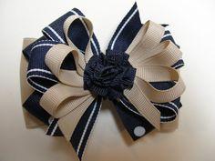 Back to School Uniform Hair Bow Dark NAVY Polka Dot by HareBizBows