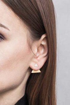 Full Double Triangle by Magdalena Paszkiewicz/ earrings / gold plated silver