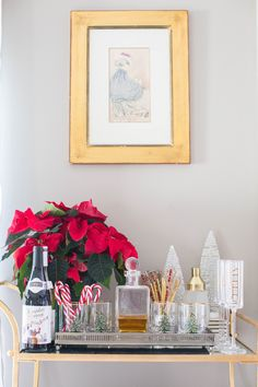 Holiday bar cart - spruce up your bar cart this season, click through for 3 different ways to style a bar cart for the holidays!
