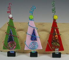 Retro++Fused+Glass+Christmas+Tree+Ornament+by+GibsonPottery,+$15.00