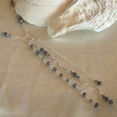 Necklace  Swarovski Crystals in Montana Bermuda and by wiredroxz