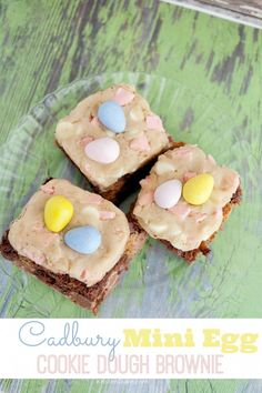 Cadbury Mini Egg Cookie Dough Brownie Recipe - perfect Easter dessert treat! KristenDuke.com