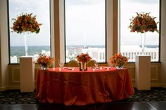 Sweetheart table decor.  (Flowers by Lee Forrest Design,  photo by: David Gaik)