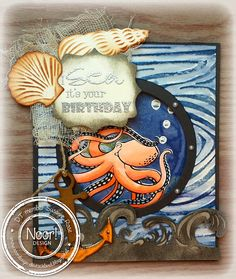 Susan Rose - Paper Blobs: Noor! Design Challenge using Designs by Ryn: Octopus, Coral Set and Kelp (stamps)