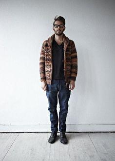 Brown Wool Fair Isle Cardigan Sweater. Men's Fall Winter Fashion.