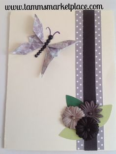 Purple Butterfly with Bling and Flowers Card - Blank Inside MKC003 – Tamm's Marketplace