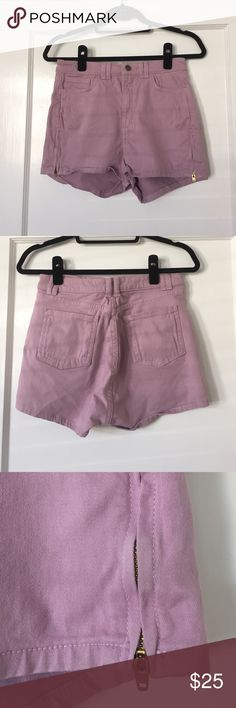 Purple high waisted denim shorts Super cute high waisted fit with gold zipper detail on both sides American Apparel Shorts Jean Shorts