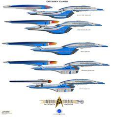 AU Odyssey class by on DeviantArt Robots Characters, Star Trek Characters, Spaceship Art, Spaceship Design, Starfleet Ships, Star Trek Images, Batman Poster, Sci Fi Ships, Star Trek Starships