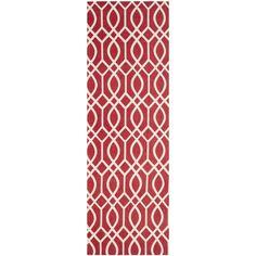 Safavieh Handmade Cedar Brook Coral/ Ivory Cotton Rug (2' x 6') (CDR141G-26), Pink, Size 2' x 6'