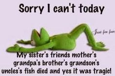 Sorry I can't today Kermit the Frog funny excuse Funny Quotes, Funny Memes, Jokes, Spin Quotes, Humorous Sayings, Random Sayings, Quirky Quotes, Funny Sarcasm, Cartoon Quotes