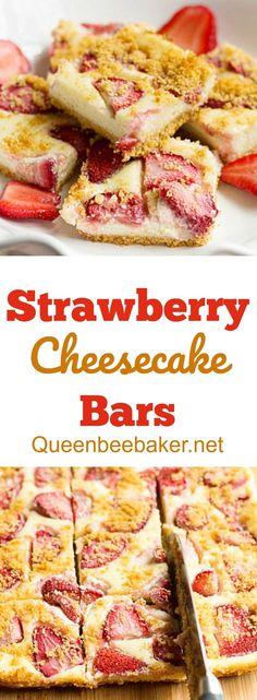 Strawberry Cheesecake Bars | Queenbeebaker.net #cheesecake #strawberrycheesecake #bars #cheesecakebars
