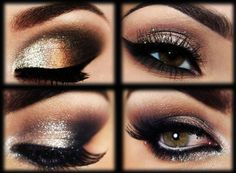 Just love <3 the mystery of dark smokey eyes with a glam of sparkle! <3 #smokeyeyes <3 #makeup Get special #eyemakeup for your special date!