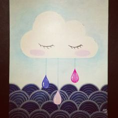 Petit nuage ☁😄🎨 #peinture #illustration #nuage #acrylique #bebe #enfant #toilecollee #pluie #mer #ocean #art #drawing #painting #baby #child #deco #chambrebebe #chambreenfant #babyshower #babyroom #childroom #childdesign #design #tableau #picture #posca #cloud #sea #rain 👍#lapetitefabriquechloesakura on facebook.