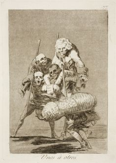 "Francisco de Goya: ""Unos á otros"". Serie ""Los caprichos"" [77]. Etching, aquatint, drypoint and burin on paper, 213 x 149 mm, 1797-99. Museo Nacional del Prado, Madrid, Spain"