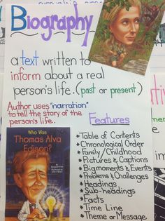 Text features of a biography - great library anchor chart Reading Genres, Reading Strategies, Reading Skills, Reading Comprehension, 2nd Grade Writing, 5th Grade Reading, Third Grade, Fourth Grade, Grade 3