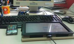 My digital Desktop. My PC, my tablet and my iPhone... and of course, my Android as my personal phone which took this photo :)