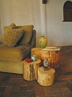 wood stump tables...mmm