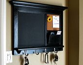 Chalkboard Organizer with Shelf - Wood  Framed Furniture Key Hook Organizer for your Kitchen, Office, or Vestibule from Rozemake. $140.00, via Etsy.
