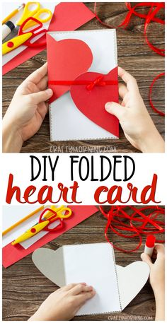 Make a cute folded heart card for valentines day! Homemade easy Valentines day c. - Make a cute folded heart card for valentines day! Homemade easy Valentines day card for the kids to - Kids Crafts, Valentine Crafts For Kids, Valentines For Kids, Valentine Nails, Creative Crafts, Yarn Crafts, Rock Crafts, Valentines Origami, Valentine Box