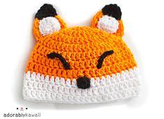 Sleepy Fox Baby Hat Pattern Crochet Baby Hat Fox by adorablykawaii Crochet Baby Hat Patterns, Crochet Fox, Crochet Baby Hats, Crochet Beanie, Cute Crochet, Crochet Animals, Knitted Hats, Crochet Woman, Amigurumi Patterns