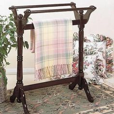 Heirloom Cherry Wooden Quilt Rack Hanger & Blanket Display Rack Stand Home Decor
