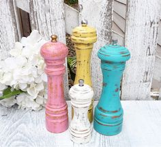 Shabby Chic Pepper Mill / Pepper Grinder CUSTOM, your choice of size and color via Etsy