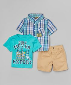 Loving this Green Plaid Button-Up Set - Infant & Toddler on #zulily! #zulilyfinds