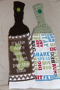 Set of 2 CROCHET TOP KITCHEN hand Towel Light terry cloth Dog Bone chevron and dog theme by pmscrafts on Etsy