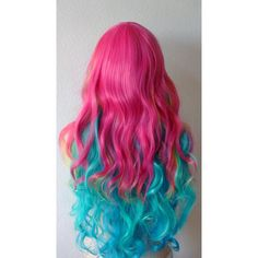 Rainbow wig. Hot pink/ Lime green/ Teal blue Patel Color Long hair... ($130) ❤ liked on Polyvore featuring beauty products and haircare
