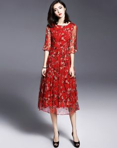 #AdoreWe #VIPme Swing Dresses❤️Designer missshine Red Printed Half Collar Silk A Line Silk Swing Midi Dress - AdoreWe.com