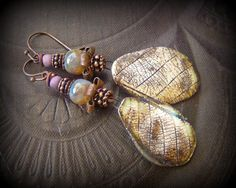 Porcelain, Insect Wings, Droplets, Mother of Pearl, .999 Silver Drops, Rustic, Tribal, Beaded Earrings