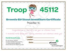Girl Scout Brownies Meeting Ideas | Brownie Girl Scout Investiture Certificate