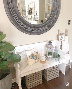 We love how made our pew bench so welcoming! To create your own friendly entryway, click the link in our bio. Home Office Chairs, Home Office Decor, Shabby Chic Farmhouse, Farmhouse Decor, Farmhouse Style, Farmhouse Bench, Farmhouse Ideas, Modern Farmhouse, Church Pew Bench