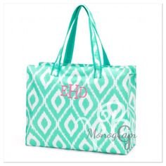 Personalized Mint Ikat bags a great tote for The beach, travel, work tote, bride bag or even a baby bag. This tote Makes great gifts for family,