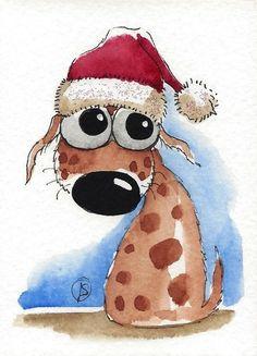 Santa's glittery hat - ACEO Original watercolor whimsical animal painting art puppy dog Christmas hat #Folkartillustration