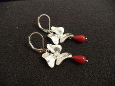 rote Koralle Tropfen Blumen Ohrringe Brisuren versilbert Feen Elfen c02