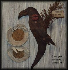 Primitive Spring Black Crow Door Doll with ladybug & daisies handmade by Megans Primitive Cupboard for sale! ~SOLD~