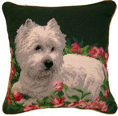 "West Highland White Terrier Westie Dog - 14"" Needlepoint Dog Pillow"