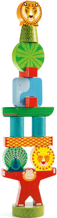 Wooden balancing jungle game for toddlers, from 2 years